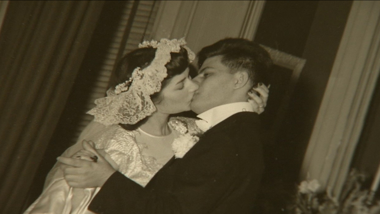 Phyllis and Stanley are shown on their wedding day.
