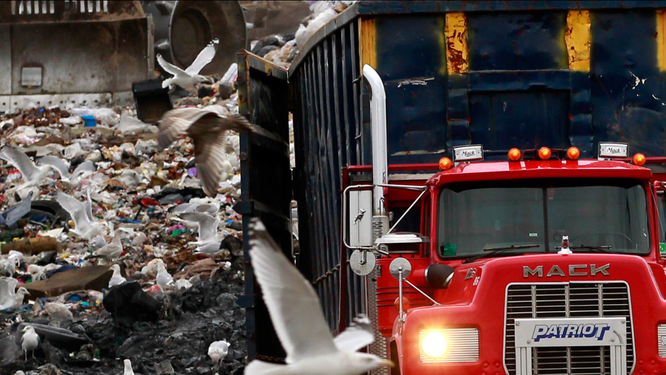 A garbage truck is seen at a landfill in this undated file photo.
