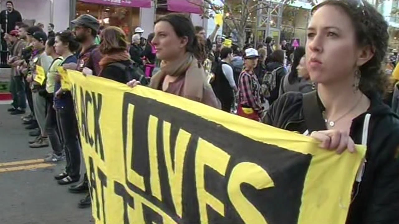 Black Lives Matter protest held at Emeryville's Bay Street mall ahead of MLK Day