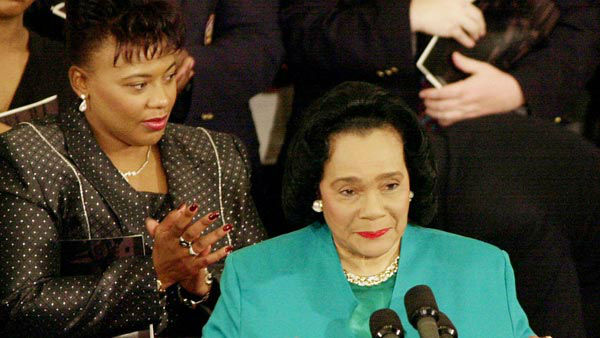 "<div class=""meta image-caption""><div class=""origin-logo origin-image ""><span></span></div><span class=""caption-text"">Rev. Bernice Albertine King applauds as her mother, Coretta Scott King, speaks during The Martin Luther King, Jr. Annual Commemorative Service (AP)</span></div>"