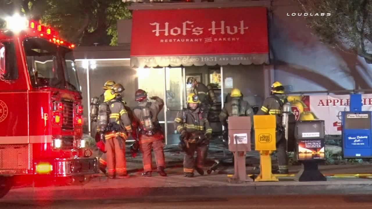 Firefighters on scene of a fire at Hof's Hut in Long Beach on Monday, Jan. 19, 2015.