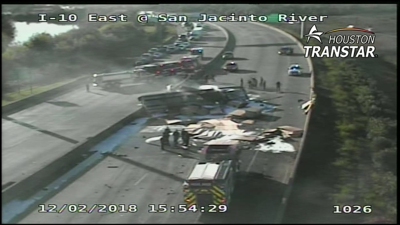 Overturned truck blocking I-10 East