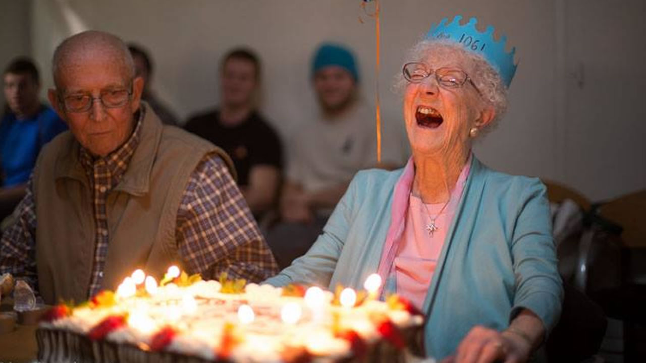Facebook's oldest registered user Edythe Kirchmaier celebrates her 106th birthday, Jan. 2014.