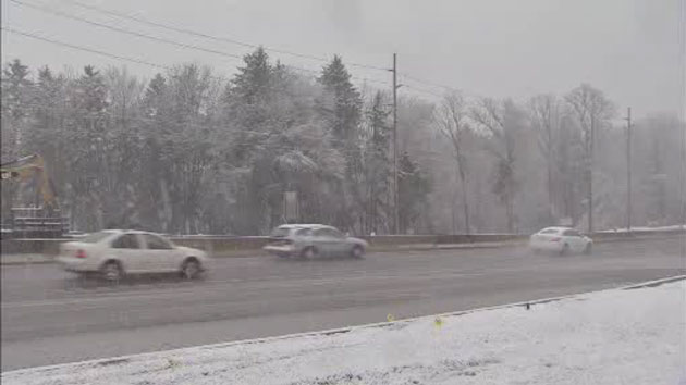 Keep a safe distance between cars when it's snowing.