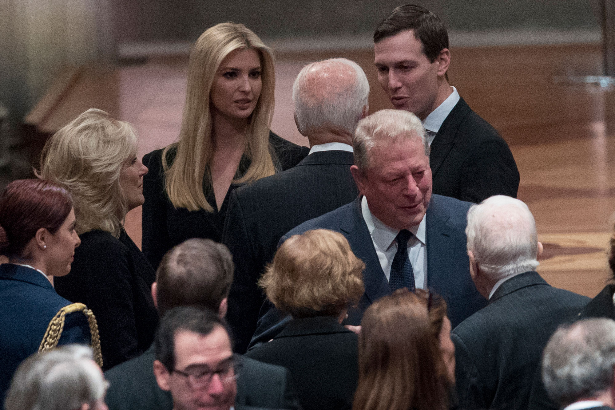 "<div class=""meta image-caption""><div class=""origin-logo origin-image none""><span>none</span></div><span class=""caption-text"">Ivanka Trump and Jared Kushner speak with former VP Joe Biden and wife Jill, while former President Jimmy Carter (back turned) and wife Rosalynn speak with former VP Al Gore. (Andrew Harnik, Pool/AP Photo)</span></div>"