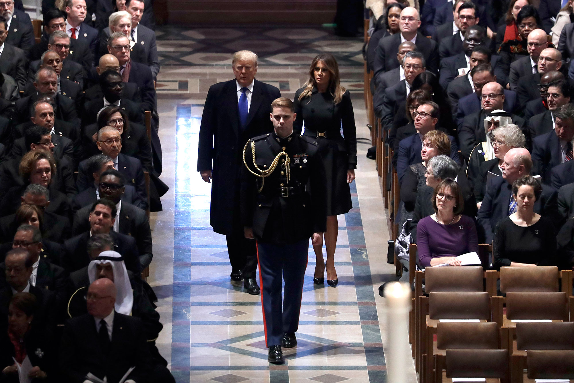 "<div class=""meta image-caption""><div class=""origin-logo origin-image none""><span>none</span></div><span class=""caption-text"">President Donald Trump and first lady Melania Trump arrive for the State Funeral former President George H.W. Bush, at the National Cathedral, Wednesday, Dec. 5, 2018. (Evan Vucci/AP Photo)</span></div>"