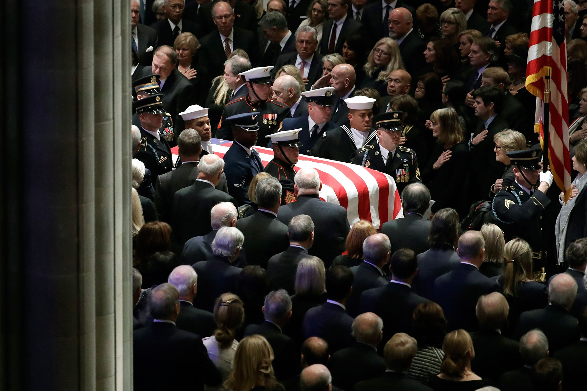 "<div class=""meta image-caption""><div class=""origin-logo origin-image none""><span>none</span></div><span class=""caption-text"">The flag-draped casket of former President George H.W. Bush is carried by a military honor guard. (Evan Vucci/AP Photo)</span></div>"