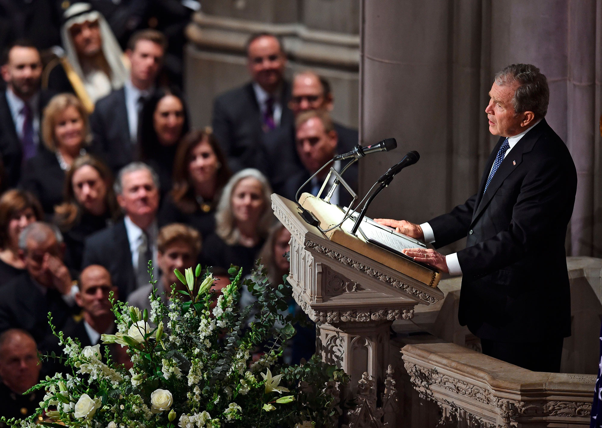 "<div class=""meta image-caption""><div class=""origin-logo origin-image none""><span>none</span></div><span class=""caption-text"">Former president George W. Bush gives a eulogy at the state funeral of his father former US president George H.W. Bush at the Washington National Cathedral in Washington. (BRENDAN SMIALOWSKI/AFP/Getty Images)</span></div>"