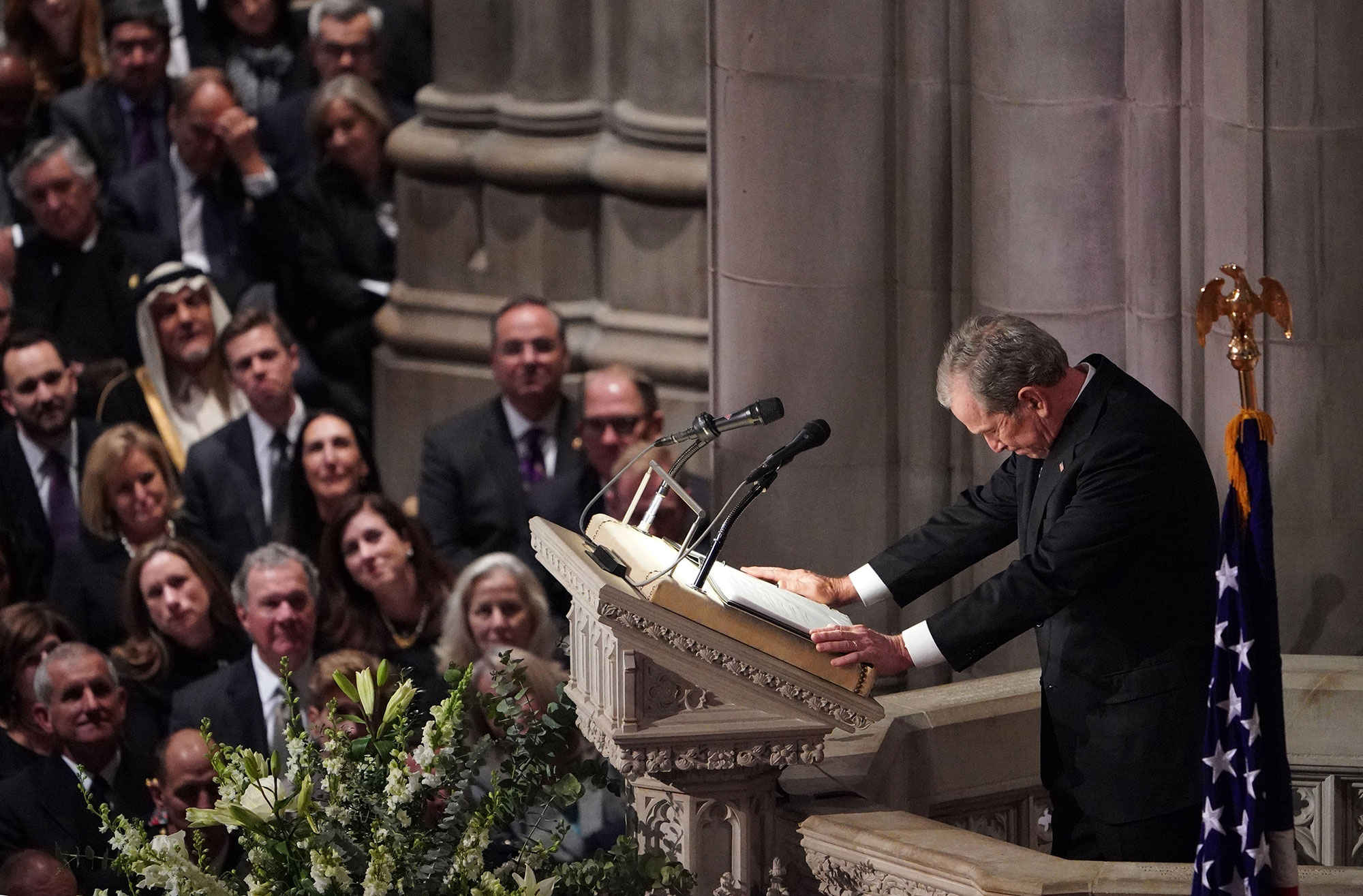 "<div class=""meta image-caption""><div class=""origin-logo origin-image none""><span>none</span></div><span class=""caption-text"">Former US President George W. Bush speaks during the funeral service for former US President George H. W. Bush at the National Cathedral in Washington, DC on December 5, 2018. (MANDEL NGAN/AFP/Getty Images)</span></div>"