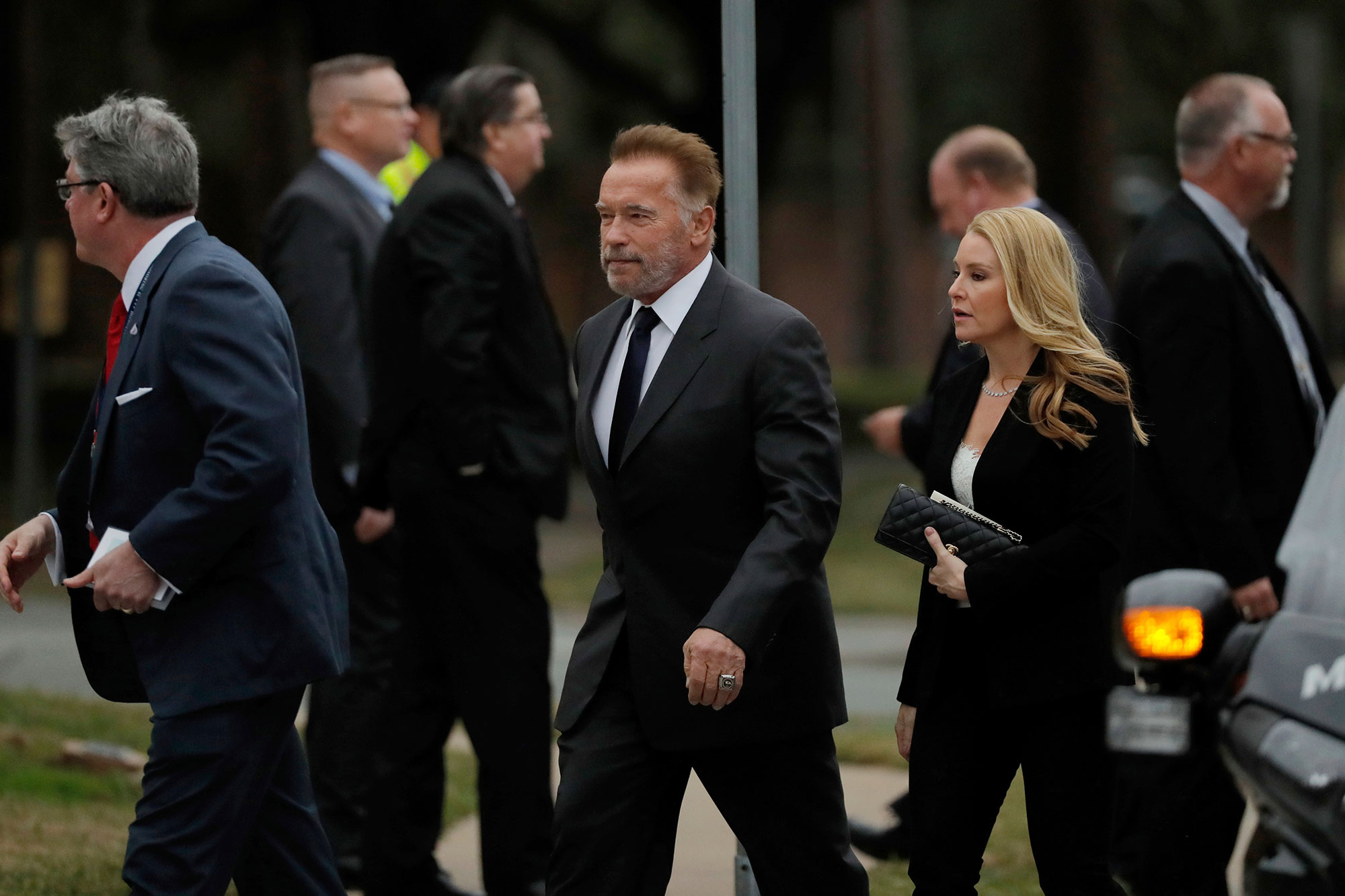 <div class='meta'><div class='origin-logo' data-origin='none'></div><span class='caption-text' data-credit='Gerald Herbert/AP Photo'>Former California Gov. Arnold Schwarzenegger arrives at a funeral for former President George H.W. Bush at St. Martin's Episcopal Church Thursday, Dec. 6, 2018, in Houston.</span></div>