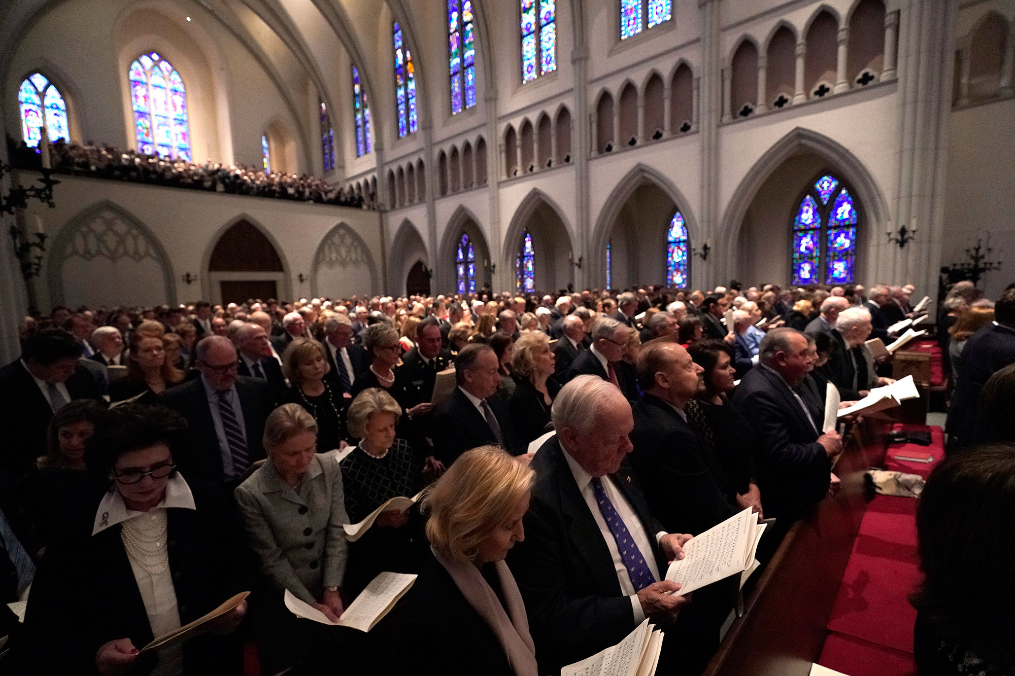 <div class='meta'><div class='origin-logo' data-origin='none'></div><span class='caption-text' data-credit='David J. Phillip, Pool/AP Photo'>Family and friends attend a funeral service for former President George H.W. Bush at St. Martin's Episcopal Church Thursday, Dec. 6, 2018, in Houston.</span></div>