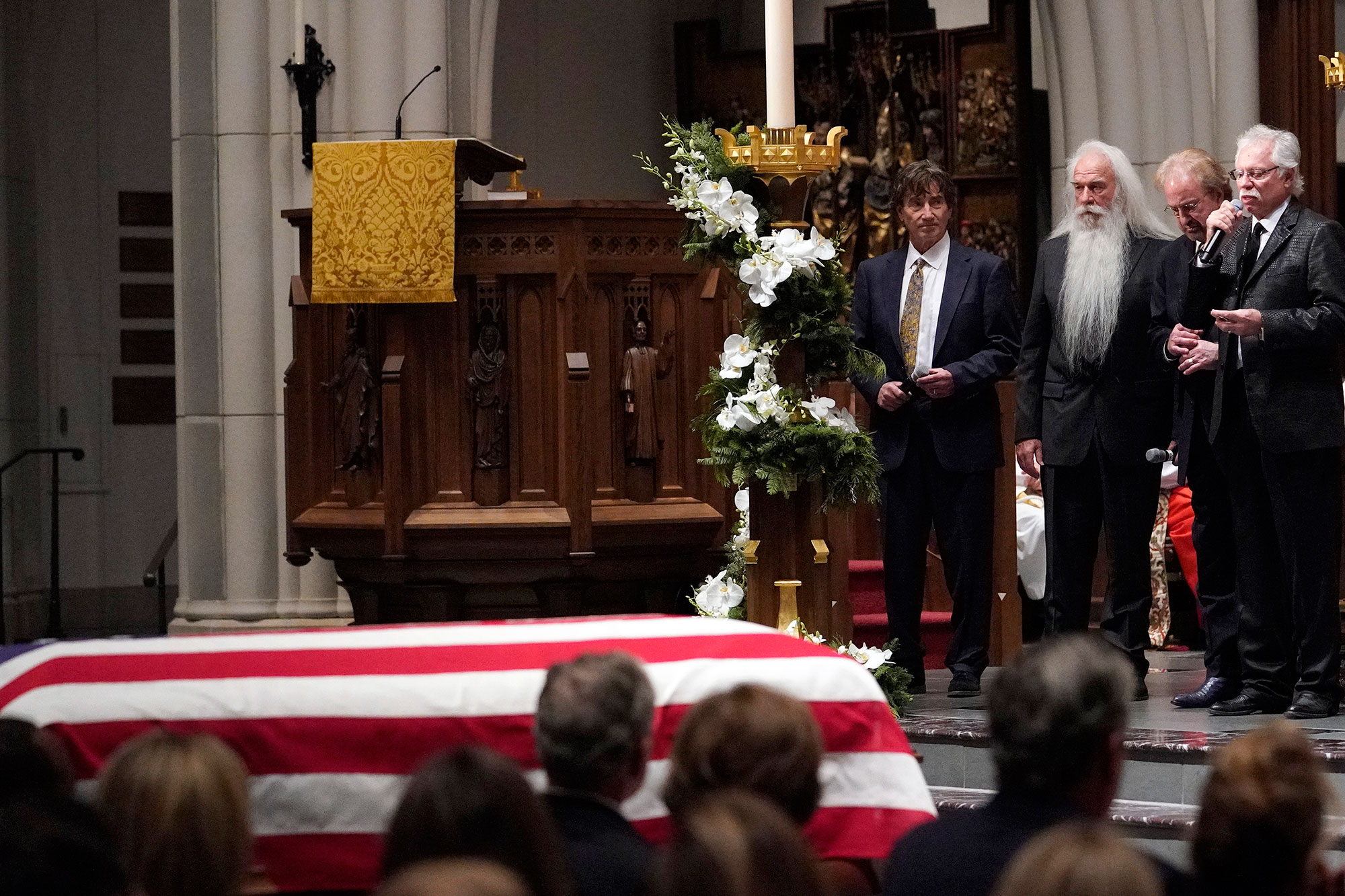 "<div class=""meta image-caption""><div class=""origin-logo origin-image none""><span>none</span></div><span class=""caption-text"">The Oak Ridge Boys sing ""Amazing Grace"" during a funeral service for former President George H.W. Bush at St. Martins Episcopal Church on December 6, 2018. (David J. Phillip-Pool/Getty Images)</span></div>"