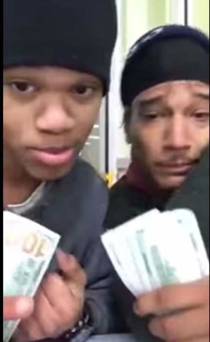 "<div class=""meta image-caption""><div class=""origin-logo origin-image ""><span></span></div><span class=""caption-text"">Dillan Thompson and Dorian Walker were seen on YouTube with thousands of dollars in cash, claiming the cash was from a good night's ""hustle."" (KTRK Photo/ YouTube)</span></div>"