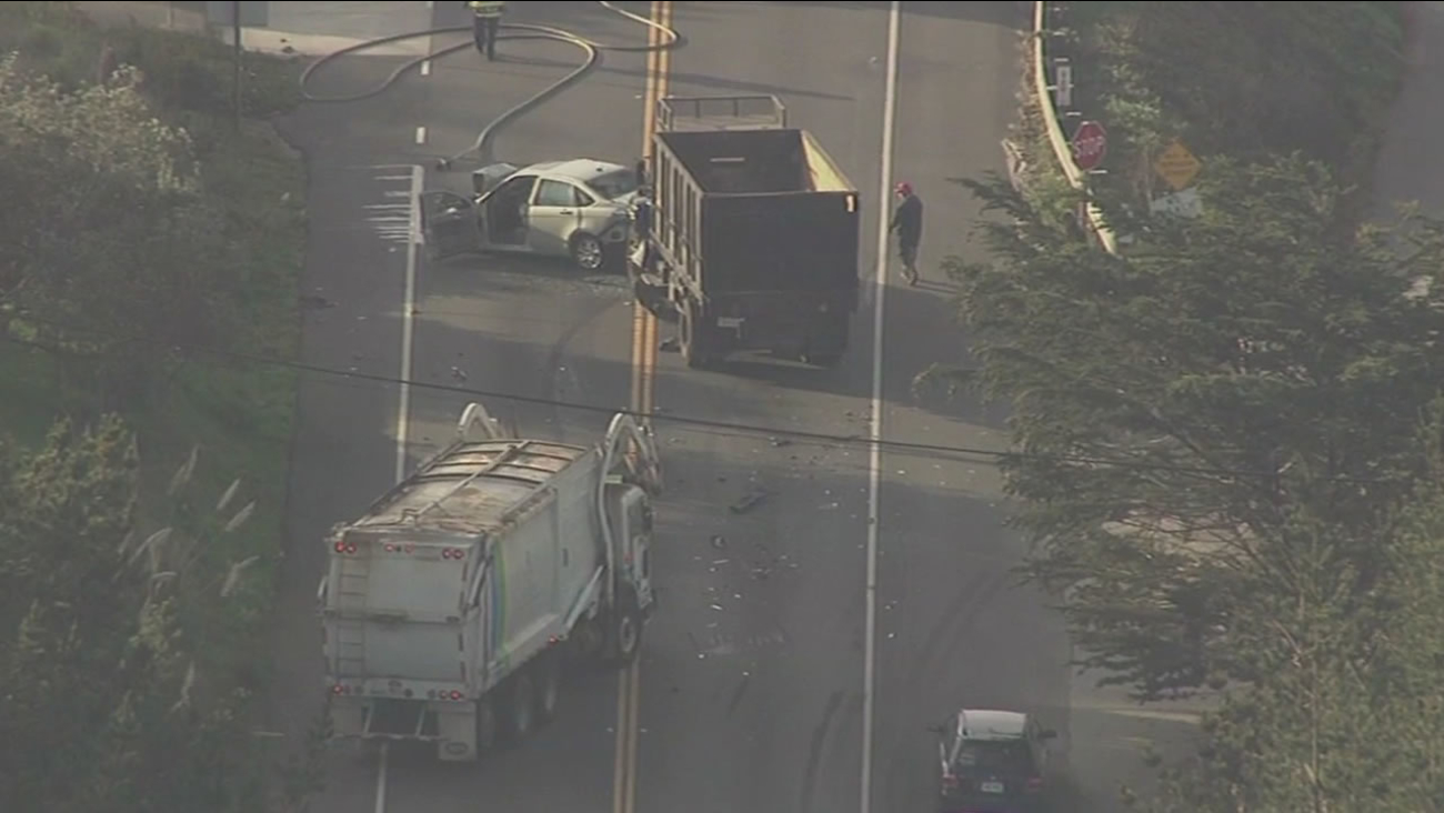 Just before 9 a.m. on Thursday, a construction dump truck hit a car head-on in Montara at 14th Street.