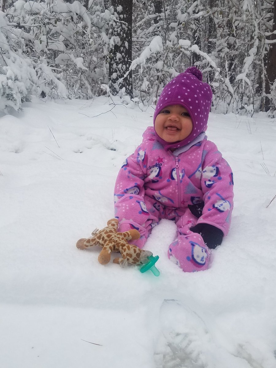 <div class='meta'><div class='origin-logo' data-origin='none'></div><span class='caption-text' data-credit='Montana Hicks'>Baby Charlotte's first snow in Durham</span></div>