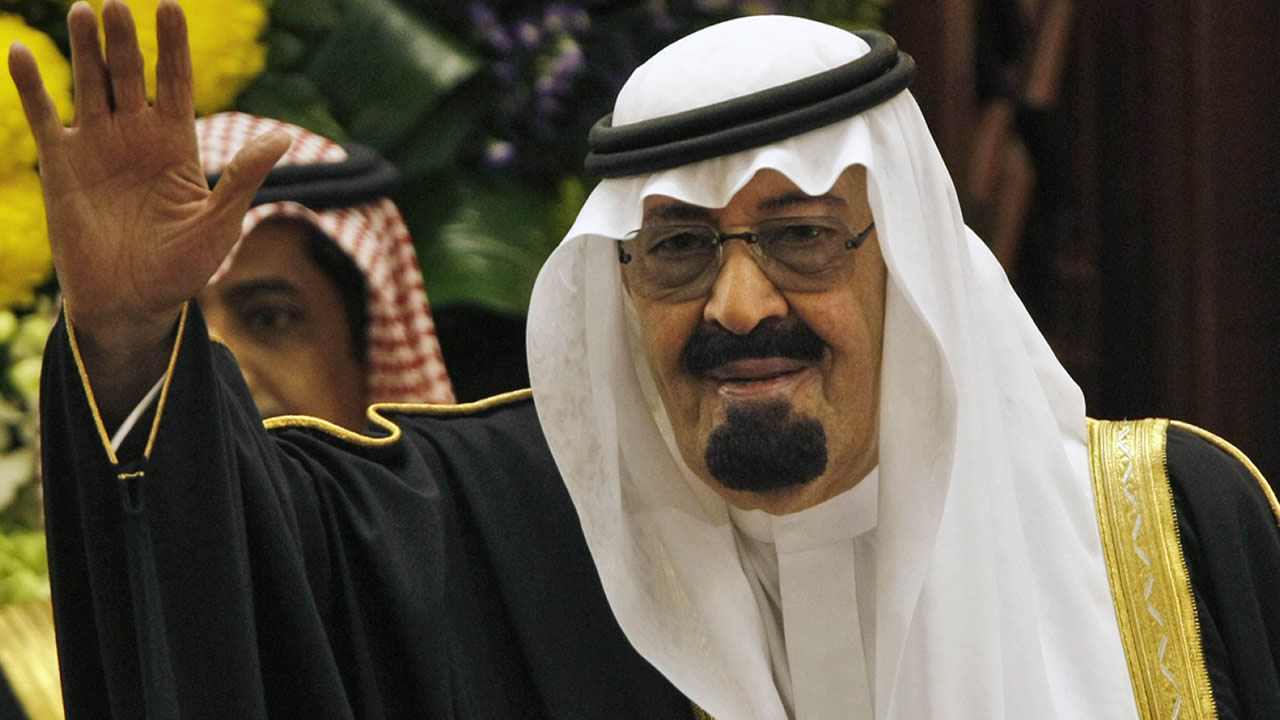 "King Abdullah bin Abdul Aziz al-Saud of Saudi Arabia, waves to members of the Saudi Shura ""consultative"" council in Riyadh, Saudi Arabia, Tuesday, March 24, 2009. (AP Photo/Hassan Ammar)"