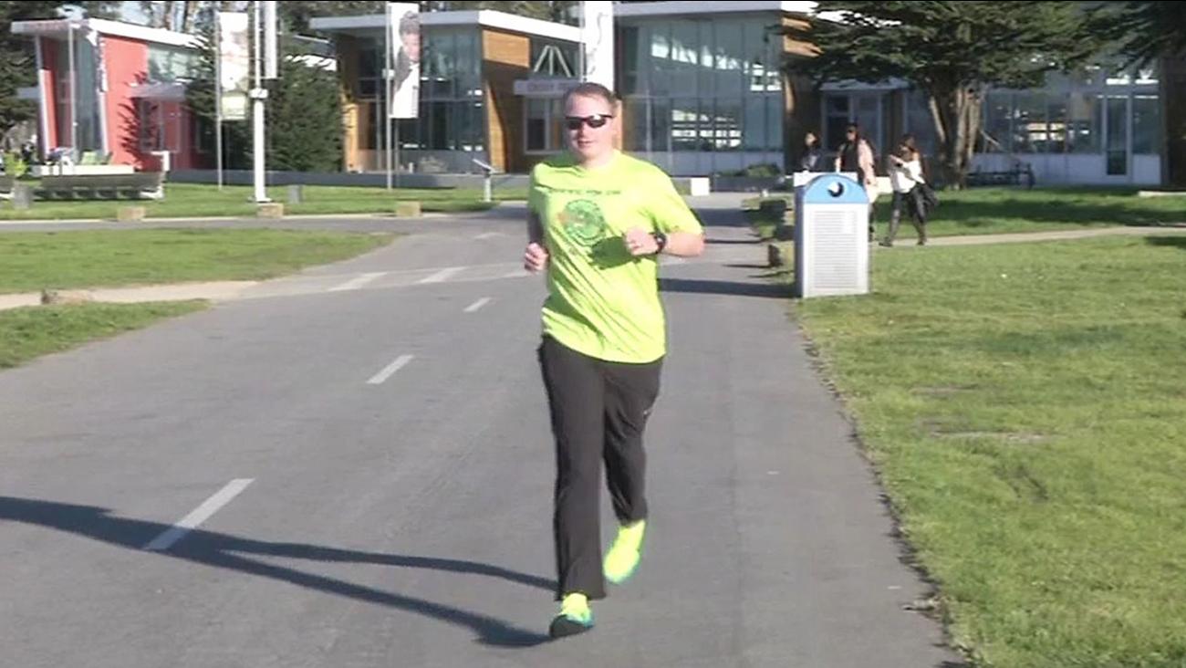 Tim Durbin runs in San Francisco