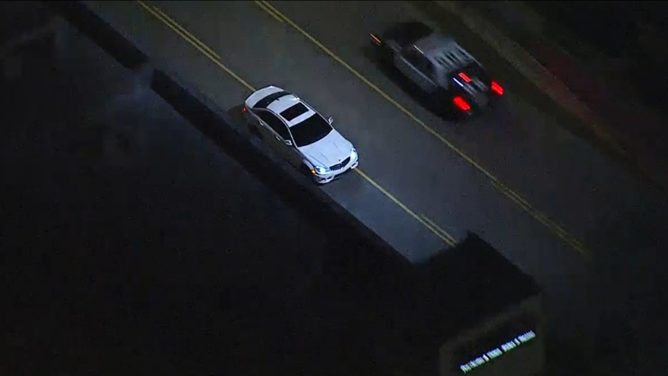 Authorities were pursuing a white Mercedes through Hollywood on Thursday, Jan. 22, 2015.