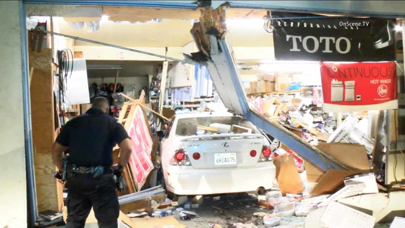 A driver plowed into a plumbing and electrical store in Garden Grove on Friday, Jan. 23, 2015.