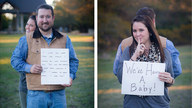 cute baby announcement husband has no idea what wife s sign says