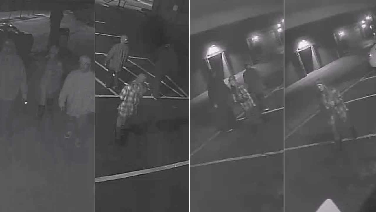 Surveillance images show three witnesses police are searching for in the case of a homeless man who was set on fire in Ventura on Saturday, Jan. 17, 2015.
