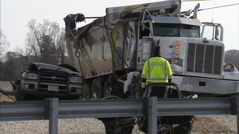 2 dead, 3 hurt after SUV crushed by dump truck on Rt  202 ramp