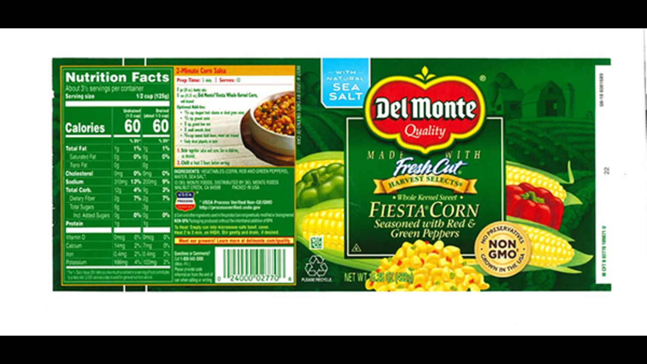 del monte recalls canned corn in 25 states, including illinois