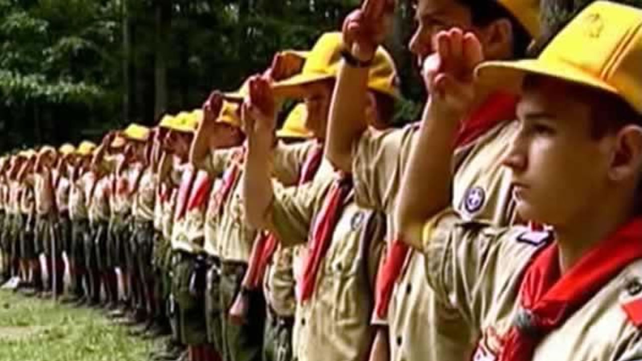 Boys scouts saluting