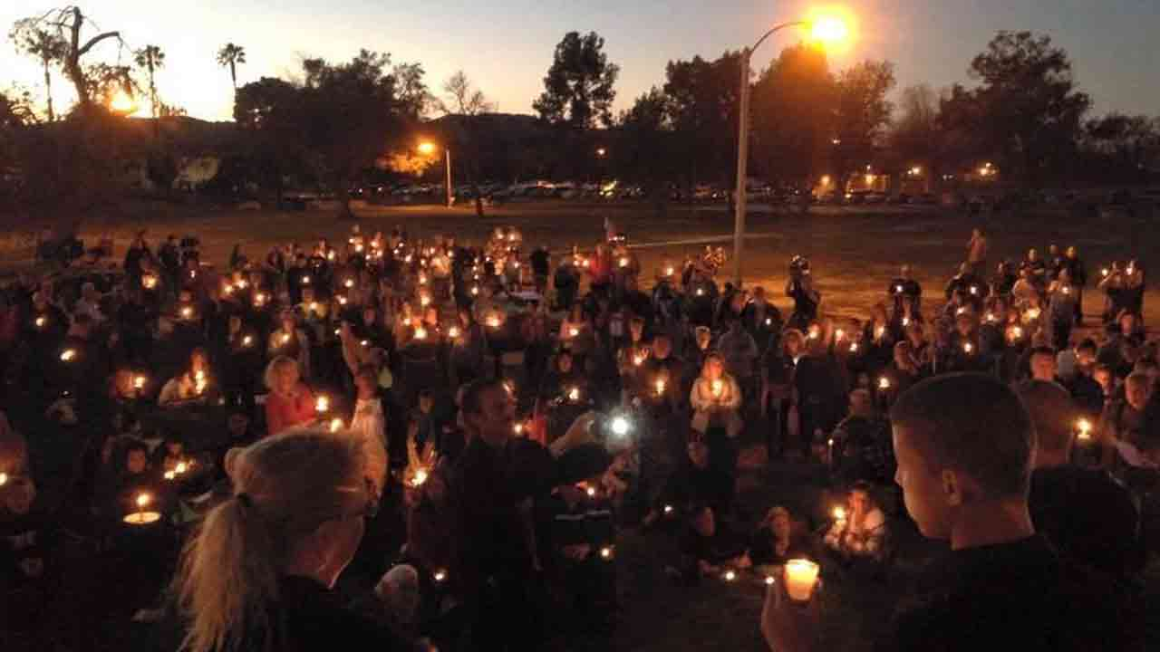A candlelight vigil was held at Gibbel Park in Hemet Saturday, Jan. 24, 2015 for fallen Riverside County Sheriff's Department K9 Sultan.