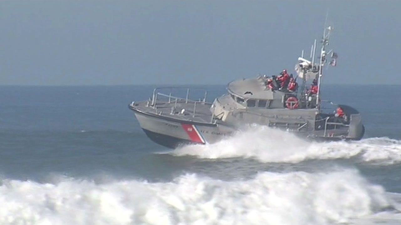 The Coast Guard patrolled Ocean Beach in San Francisco Saturday as the High Surf Advisory remained in effect.