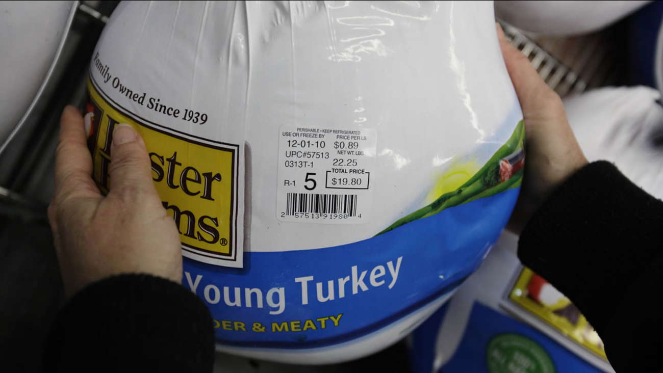 A customer looks at a Foster Farms turkey for sale at Costco Wholesale in Mountain View, Calif., Saturday, Nov. 20, 2010. (AP Photo/Paul Sakuma)