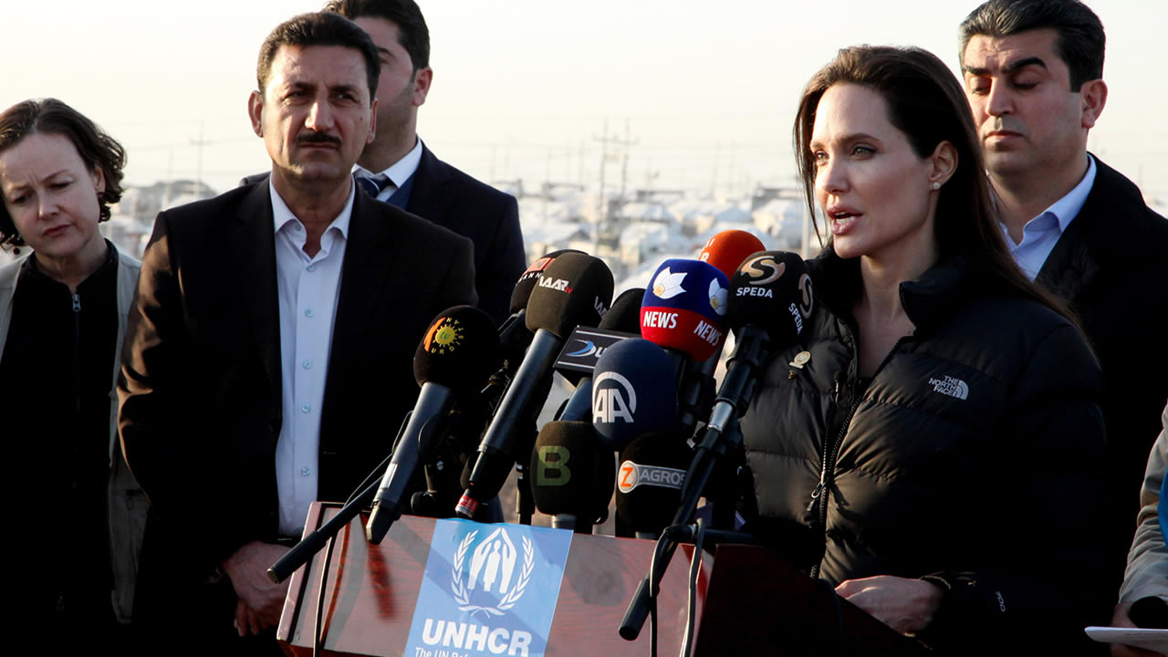 Angelina Jolie delivers a speech during a press conference in Khanke camp in Dahuk, north of the Kurdistan region, northwest of Baghdad, Iraq, Jan. 25, 2015. (AP Photo/Seivan M. Selim)
