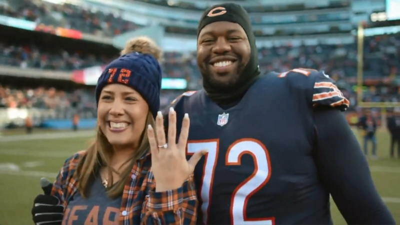 lowest price 87883 64389 Chicago Bears player Charles Leno proposes to girlfriend ...