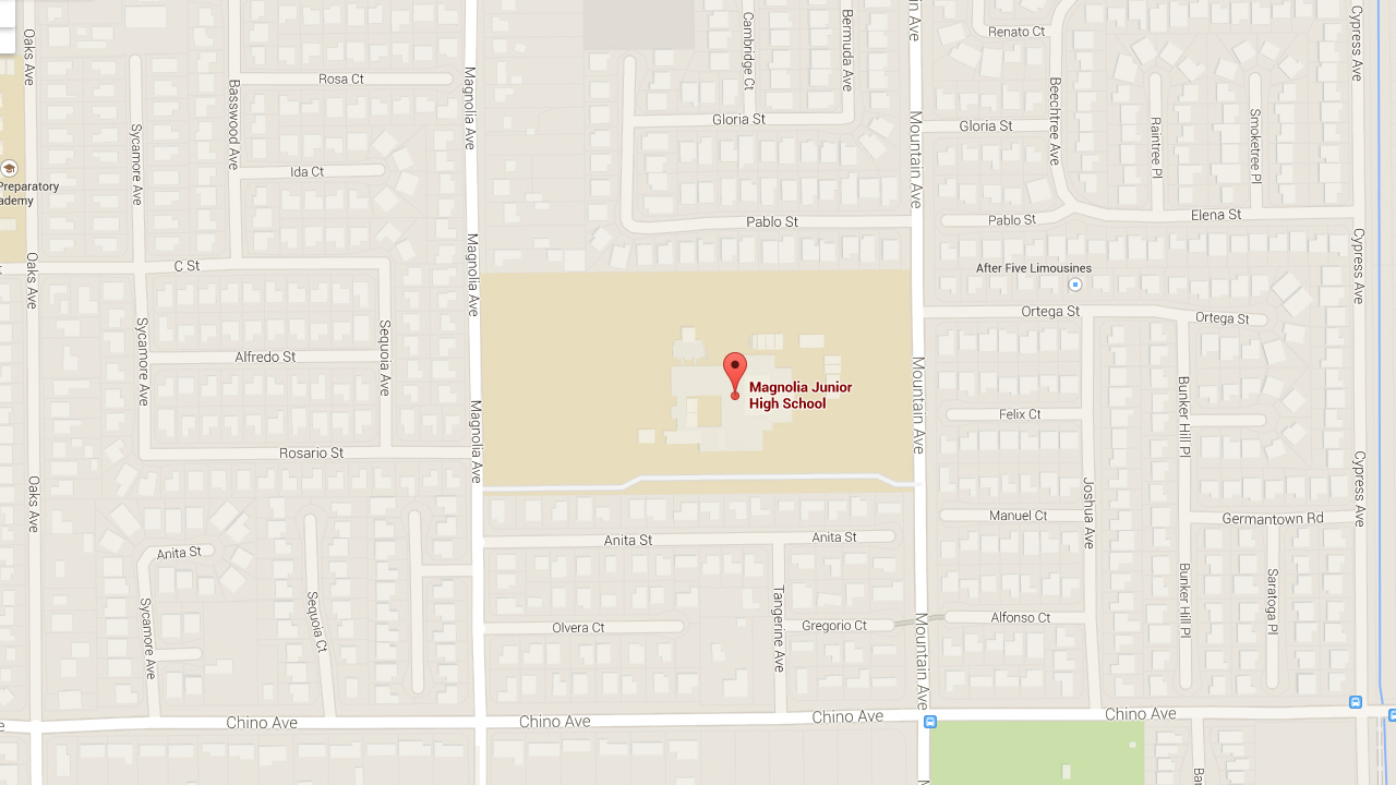 This Google Maps shows the location of Magnolia Junior High School in Chino.