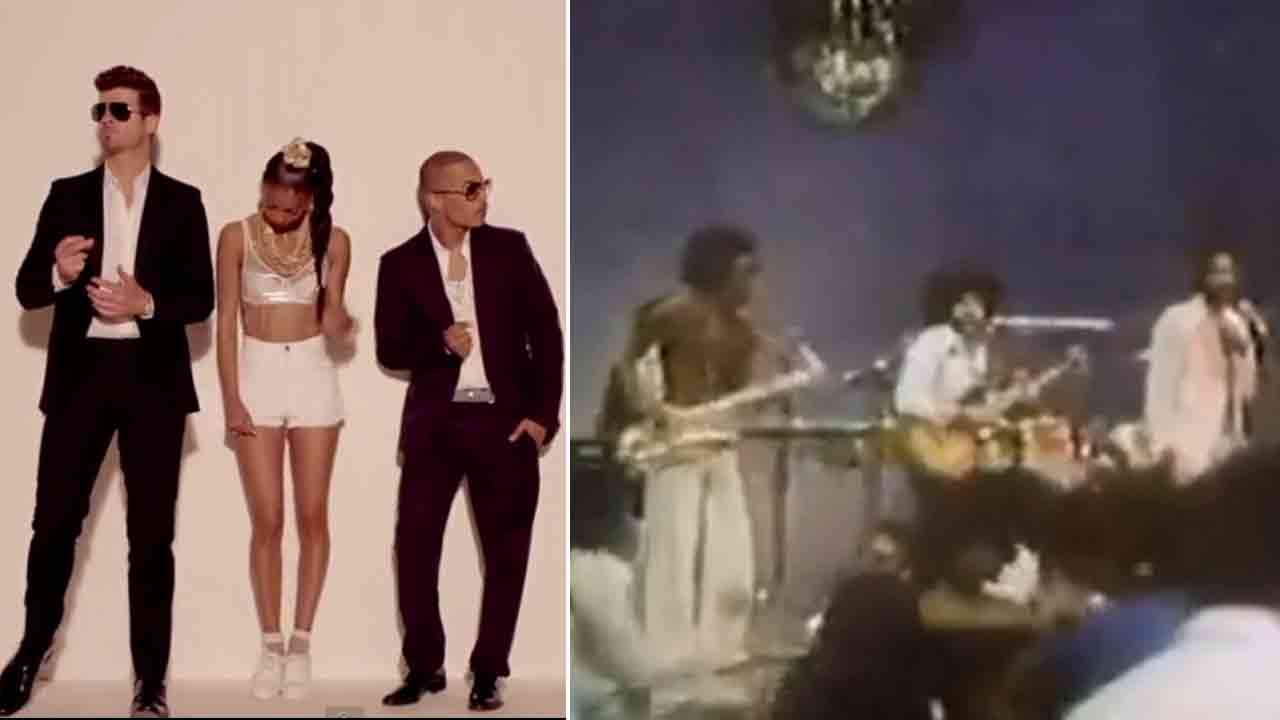 Robin Thicke and T.I. are seen in the video for 'Blurred Lines' (left). Marvin Gaye is seen performing 'Got To Give It Up' (right)