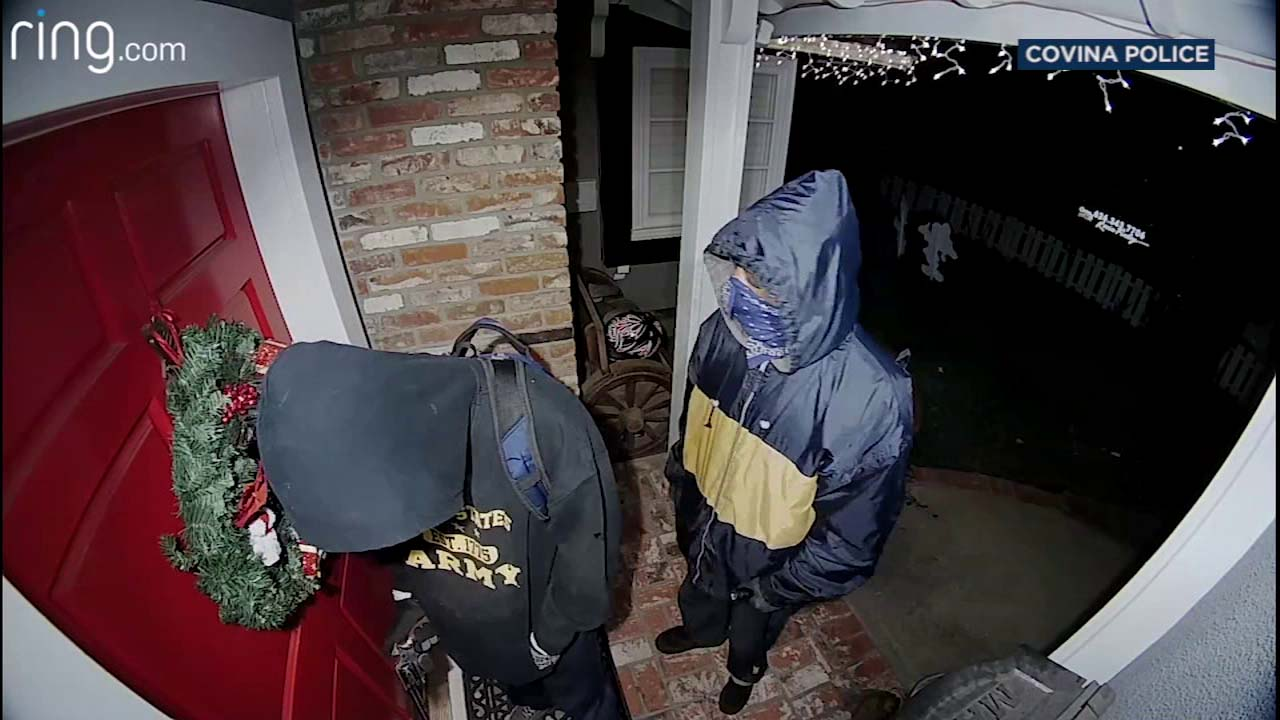 VIDEO: Doorbell cam spots armed men outside Covina home