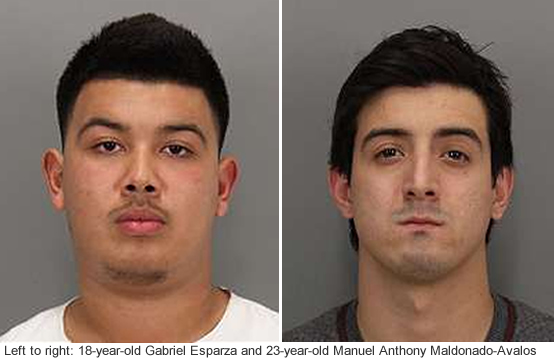 Gabriel Esparza, 18, and Manuel Anthony Maldonado-Avalos, 23, are accused of killing 24-year-old Kiran Pabla while speeding in San Jose, Calif. on Jan. 26, 2015.