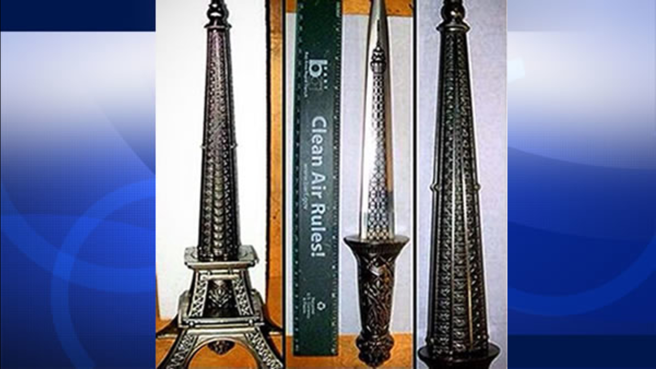 A TSA spokesperson tweeted out a picture of a dagger hidden inside a replica of the Eiffel Tower.