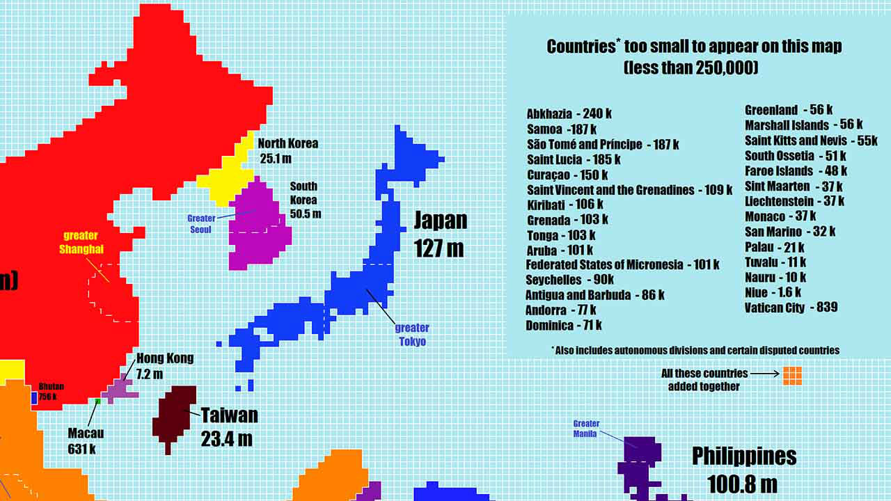 Photos What The World Map Looks Like If Scaled By Population