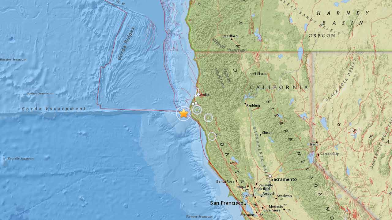 This U.S. Geological Survey map shows the location of a 5.7-magnitude earthquake that struck 17 miles west of Petrolia in Northern California on Wednesday, Jan. 28, 2015.