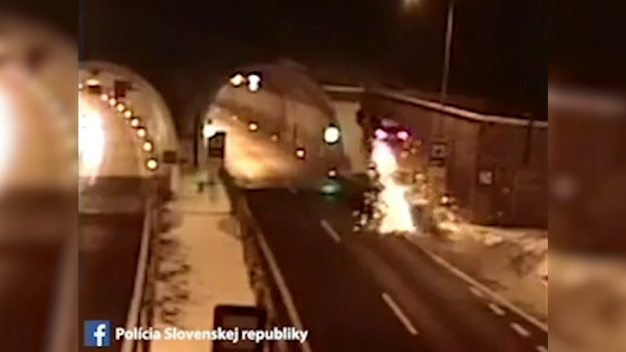 video: car goes airborne, crashes into top of tunnel | abc7chicago