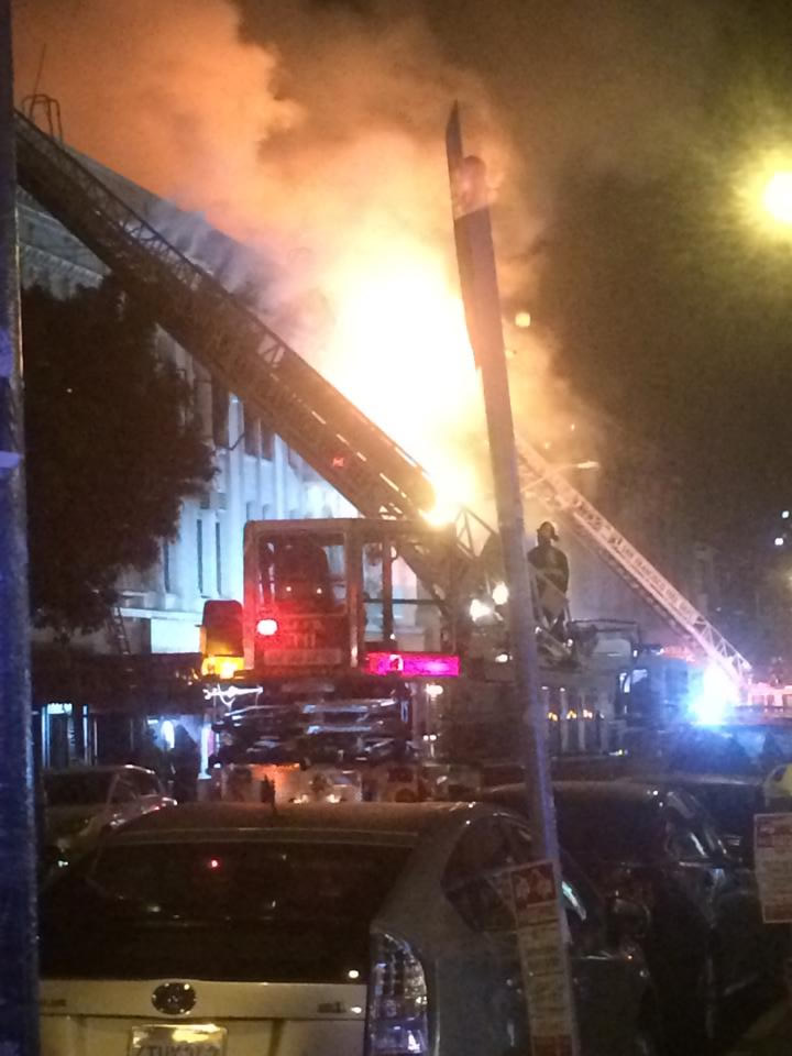 """<div class=""""meta image-caption""""><div class=""""origin-logo origin-image kgo""""><span>KGO</span></div><span class=""""caption-text"""">A fire burns in the Mission District neighborhood of San Francisco, Calif. on Jan. 28, 2015. (Photo by Will via Facebook)</span></div>"""