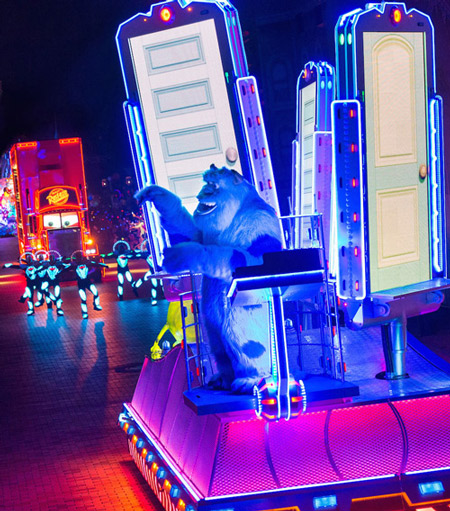 """<div class=""""meta image-caption""""><div class=""""origin-logo origin-image kabc""""><span>KABC</span></div><span class=""""caption-text"""">Sully from """"Monster's Inc."""" is featured in a new parade called """"Paint the Night"""" as part of Disneyland's 60-year anniversary celebration.</span></div>"""