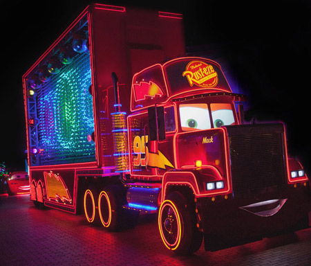 """<div class=""""meta image-caption""""><div class=""""origin-logo origin-image kabc""""><span>KABC</span></div><span class=""""caption-text"""">A character from """"Cars"""" is featured in the new parade called """"Paint the Night"""" as part of Disneyland's 60-year celebration.</span></div>"""