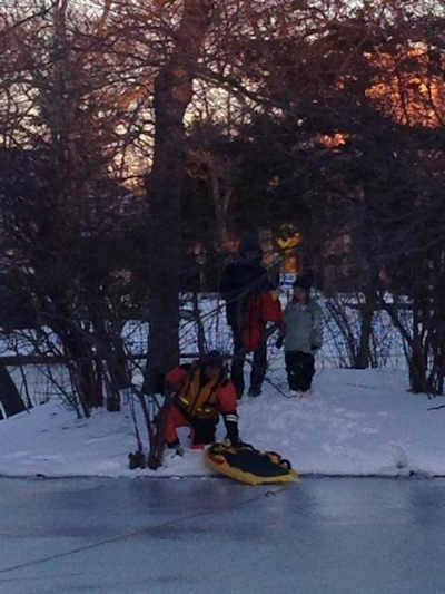 """<div class=""""meta image-caption""""><div class=""""origin-logo origin-image none""""><span>none</span></div><span class=""""caption-text"""">On Wednesday evening, Asbury Park firefighters helped rescue a man and a 9-year-old child who were stranded on an island in Sunset Lake. (Photo/Asbury Park Fire Department)</span></div>"""