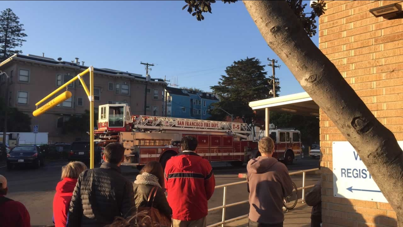 Crews are repairing a water main break at the intersection of Oak and Baker streets in San Francisco.
