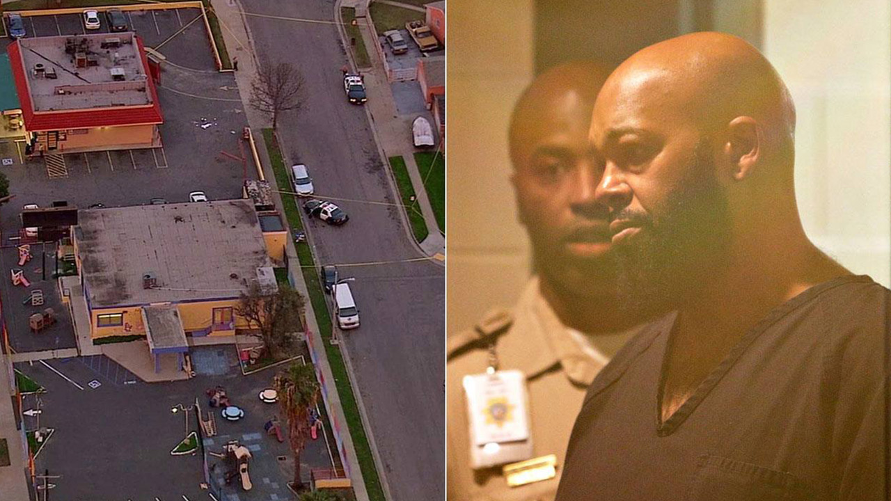 Los Angeles County sheriff's deputies investigate a fatal hit-and-run in Compton on Thursday, Jan. 29, 2015 (left). Rap music mogul Marion 'Suge' Knight in court (right).