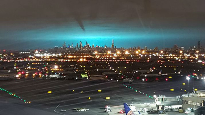 Electrical Arc Turns Night Sky Blue In Nyc