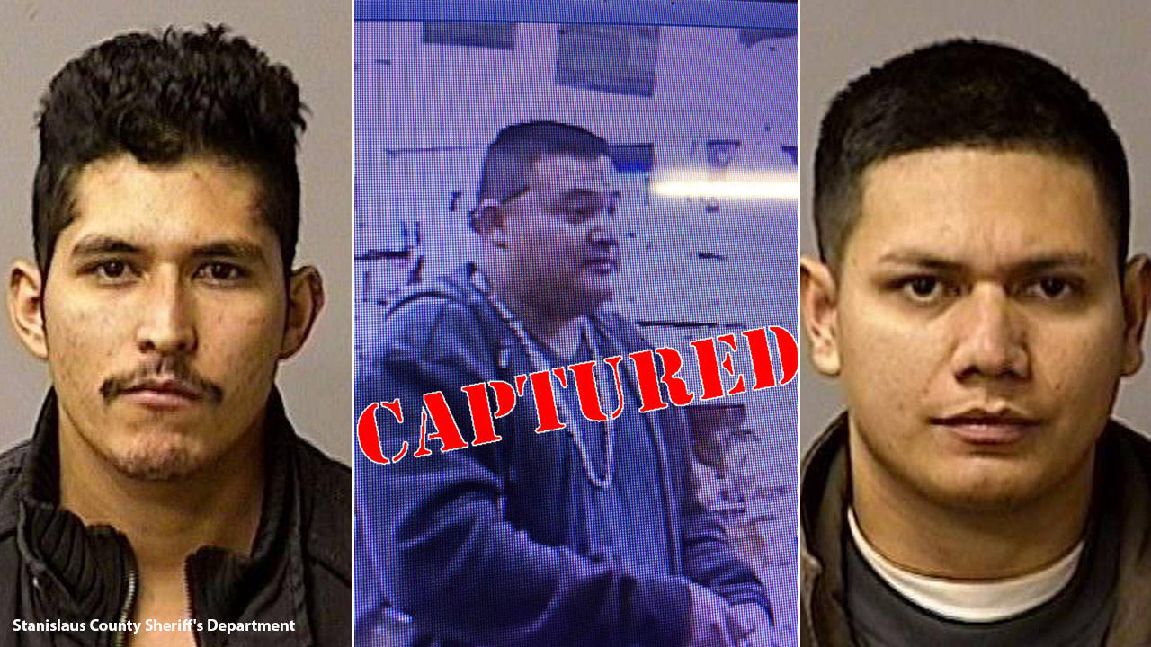 This is a triple-split photo of Erik Razo Quiroz, Gustavo Perez Arriaga and Adrian Virgen, who were arrested in connection with the fatal shooting of a Newman police officer.