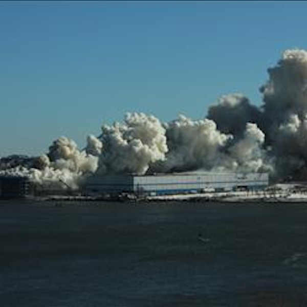 """<div class=""""meta image-caption""""><div class=""""origin-logo origin-image none""""><span>none</span></div><span class=""""caption-text"""">Firefighters battled a large fire Saturday morning at a storage facility in Williamsburg, Brooklyn. (Photo courtesy Dan Francis)</span></div>"""